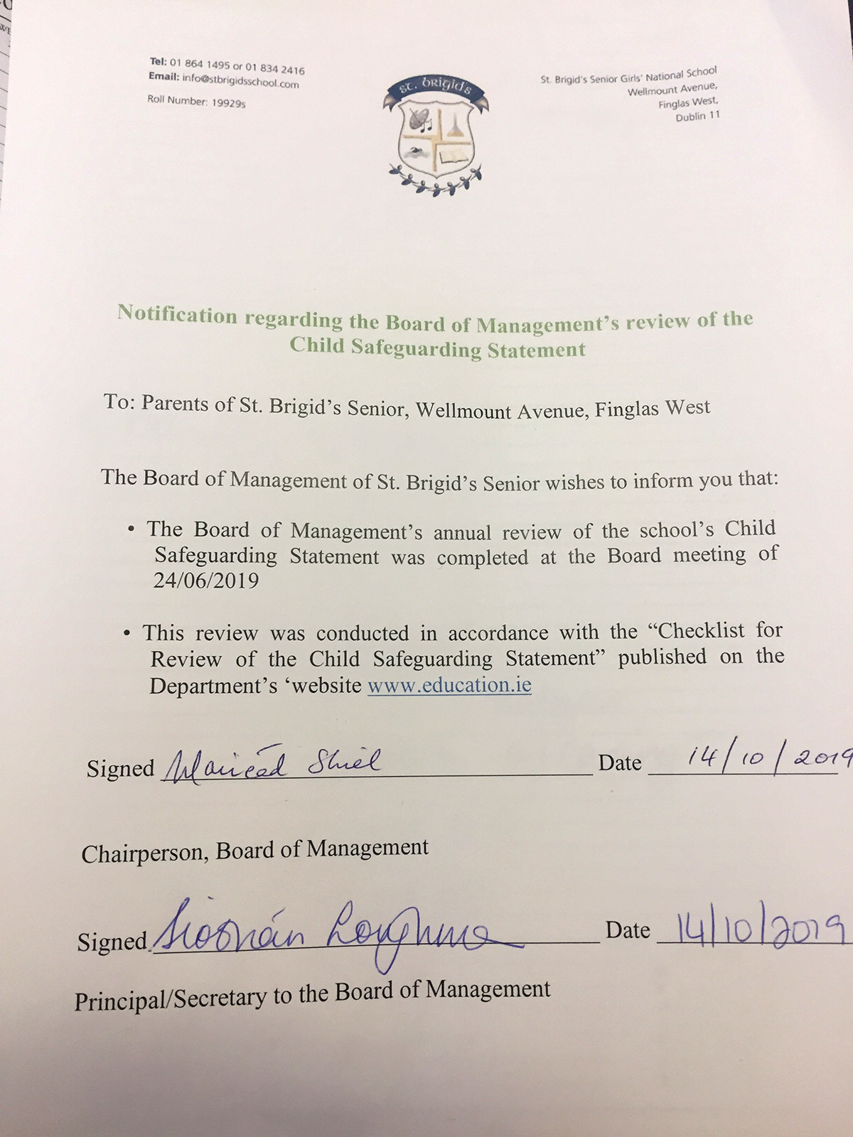 Notification regarding the Board of Management's Review of the Child Safeguarding Statement